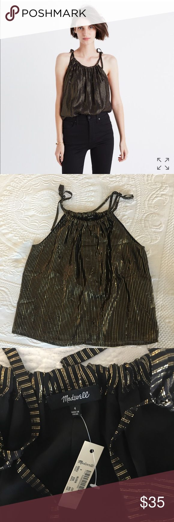 NWT Madewell Metallic Striped Cami Top NWT Madewell Metallic Striped Cami Top in size 4 but fits more like 6. Never worn and re-poshing because it's too big for me. Perfect for thanksgiving and Christmas season parties! Madewell Tops Tank Tops