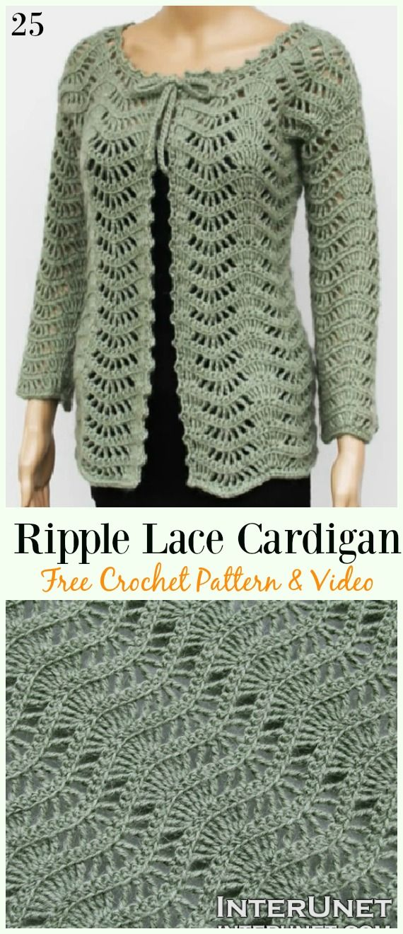 Ripple Lace Cardigan Free Crochet Pattern & Video – #Crochet; Women Summer Jacke…