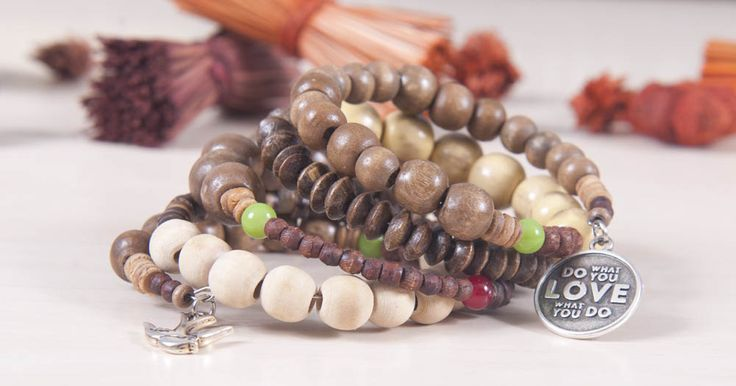 Boho bracelet with wooden beads and charms