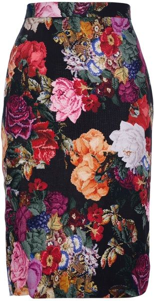 DOLCE & GABANNA Floral Pencil Skirt - Lyst.  You could wear any color of top with this.