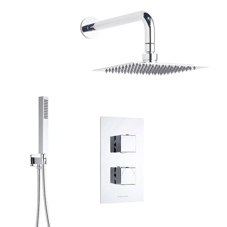 Duschsystem Quadrat inkl Kopfbrause, Handbrause & Thermostat Duscharmatur - Image 1