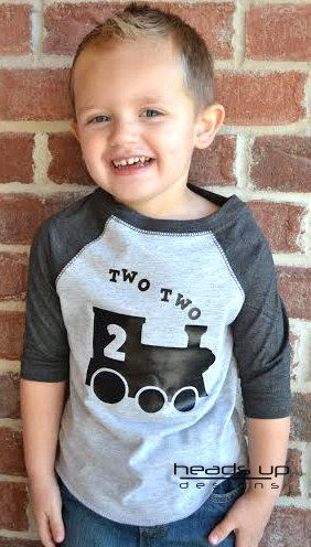 Two Two Train Toddler Raglan Shirt - Two Shirt Boy/Girl Birthday - 2nd Birthday…