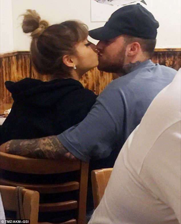 That old feeling:  Mac Miller and Ariana Grande were spotted kissing Sunday night during dinner