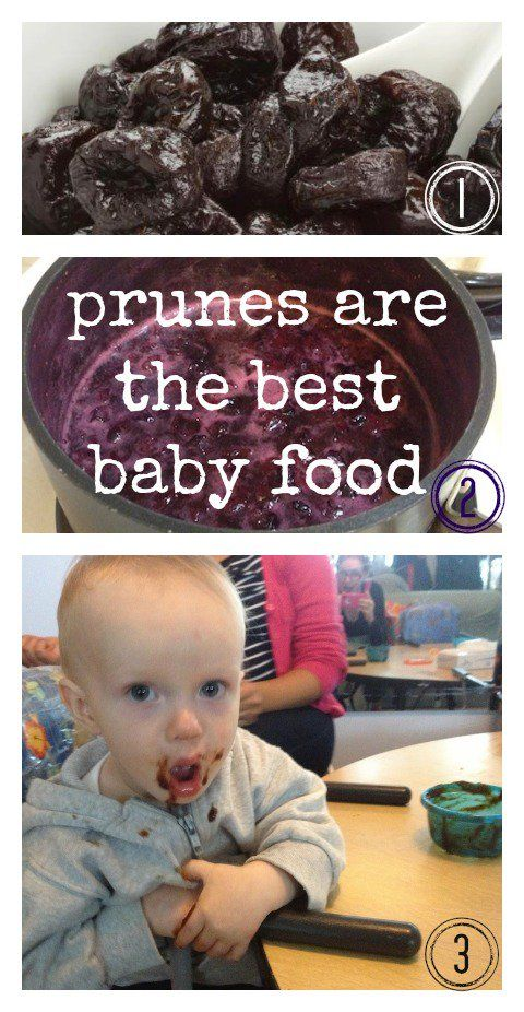 Prune Baby Food: One bag of organic dried plums from the bulk or dried fruit section, 2 cups of water (enough to cover prunes in the pot by about an inch) Steps: Rinse the prunes and put in a saucepan.  Add the water. Bring to a boil. Simmer for about 10 minutes. Cool before putting in blender (or use an immersion hand blender to puree right there in the pot)