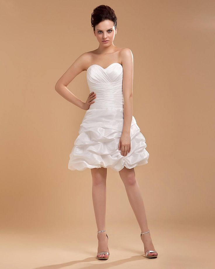 Taffeta Sweetheart Knee Length Mini Wedding Dress  Read More:     http://www.weddingsred.com/index.php?r=taffeta-sweetheart-knee-length-mini-wedding-dress.html
