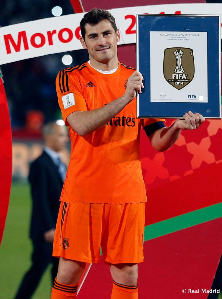 Iker Casillas of Real Madrid poses for pictures after the FIFA Club World Cup Final match between Real Madrid CF and San Lorenzo at Le Grand Stade de Marrakech on December 20, 2014 in Marrakech, Morocco.