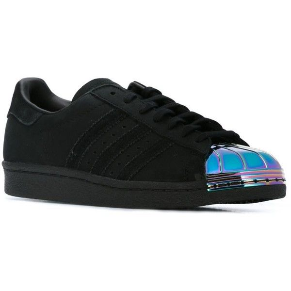 Adidas Originals 'Superstar 80s' sneakers (875 HRK) ❤ liked on Polyvore featuring shoes, sneakers, purple shoes, black leather sneakers, black leather shoes, black leather trainers and lace up sneakers