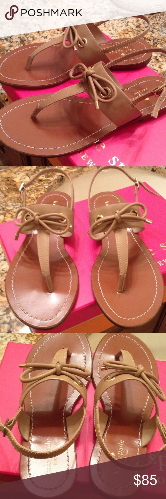 Brand new authentic Kate spade sandals With box Kate spade neutral color sandals with bows kate spade Shoes Sandals