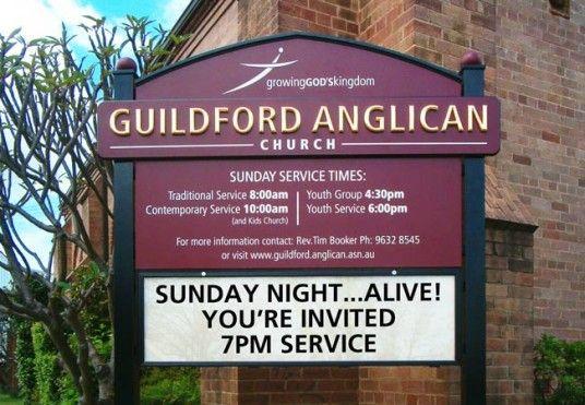 Guildford Anglican Church message board sign / Danthonia Designs