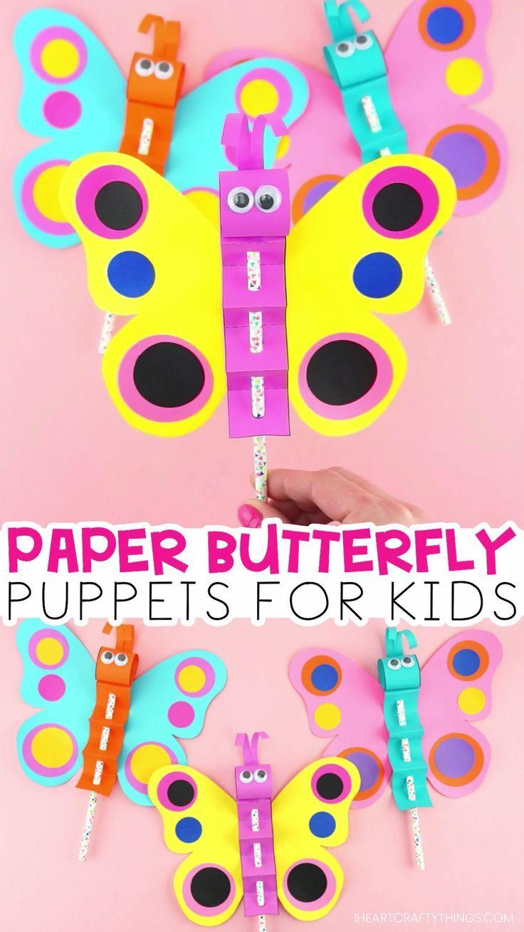 Herstellung einer bunten Schmetterlingspuppe aus Papier