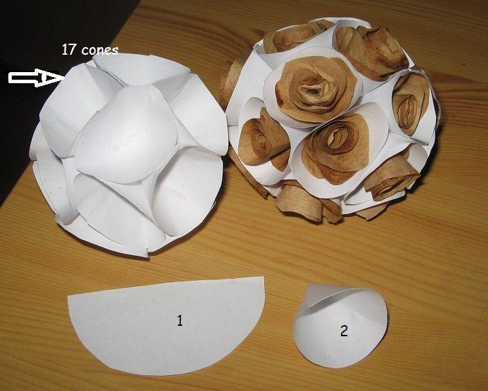 boule en papier avec des connes