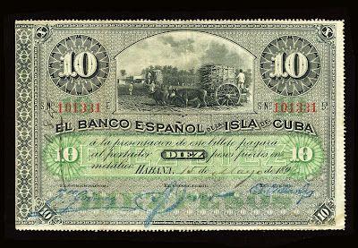 Cuba banknotes 10 Cuban Pesos Banknote of 1896, El Banco Espanol de la Isla de Cuba.