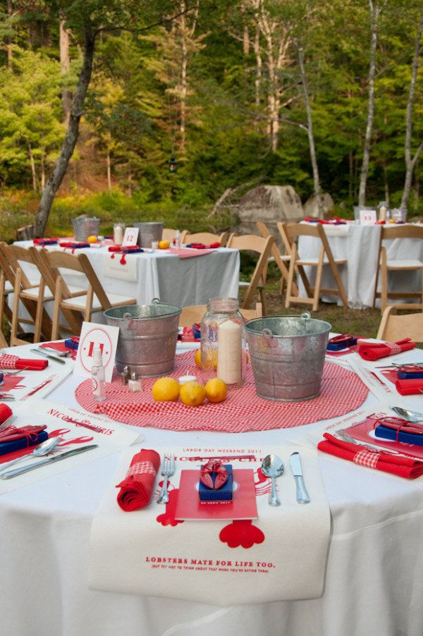 Lobster bake rehearsal dinner table setting) for Parker King Wedding at Lakefalls Lodge Photography by grazierphotography.com, Floral Design by tangerinecreations.com
