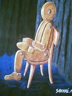 LE BOIS - Painting,  20x35 cm ©2001 by Mohamed Sakhri -