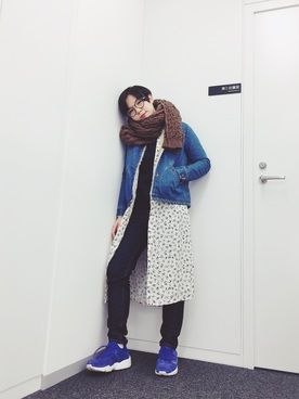 光永さんのデニムジャケット「FRUIT CAKE ボアデニムジャケット」を使ったコーディネート