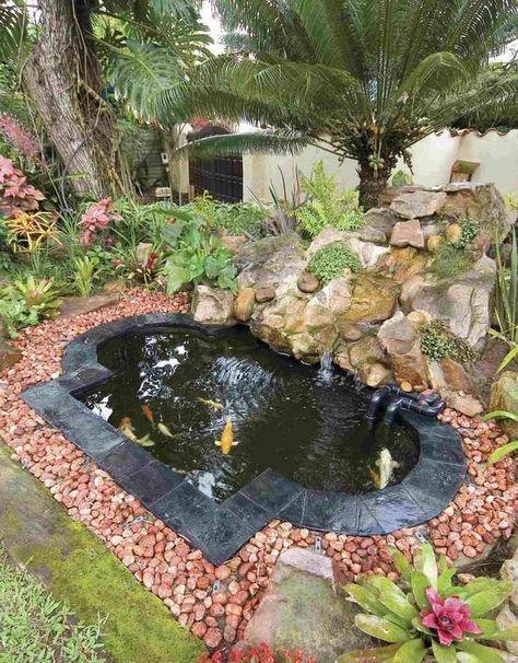 bassin carpe koï de forme irrégulière, déco en galets rouges et cascade en rochers, plantes aquatiques et palmiers