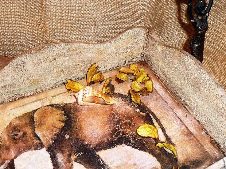 """Купить """"Африканский слон"""" поднос - комбинированный, подарок, поднос, поднос для кухни, Декупаж, поднос декупаж"""