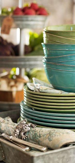 Rustic dinnerware in warm tones