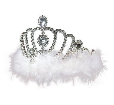 Diadem z białym puszkiem. Idealny na imprezę urodzinową lub wieczór panieński prawdziwej królowej.