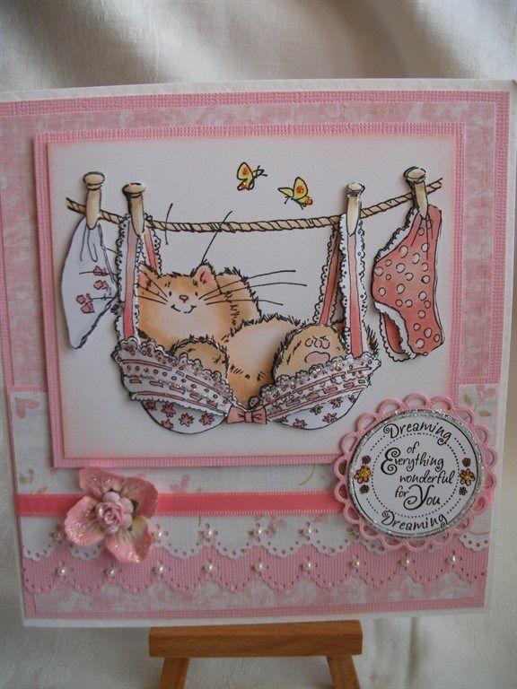P.B. Cat in Pink Bra | docrafts.com