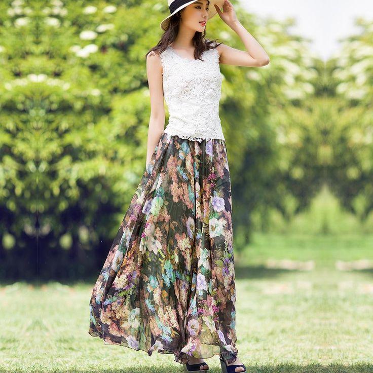 Summer Style Girl Skirt Women Floral Chiffon | Dresscab