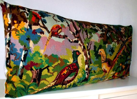 Huge Unique Vintage Needlepoint Tapestry Exotic Birds Brights reworked with French Linen Statement Pillow Cushion Coussin