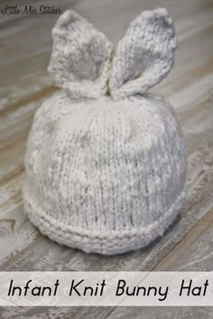 Knit Bunny Ears Pattern : 17 Best ideas about Childrens Knitted Hats on Pinterest Knitted baby h...