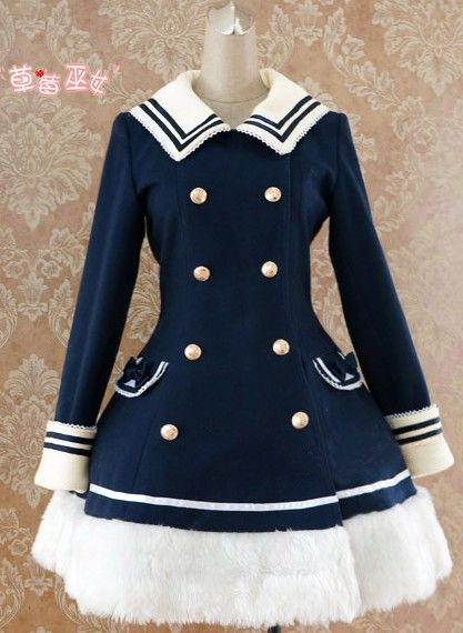 Lolita Navy Blue Sailor Style A-line Winter Jacket for 88.99