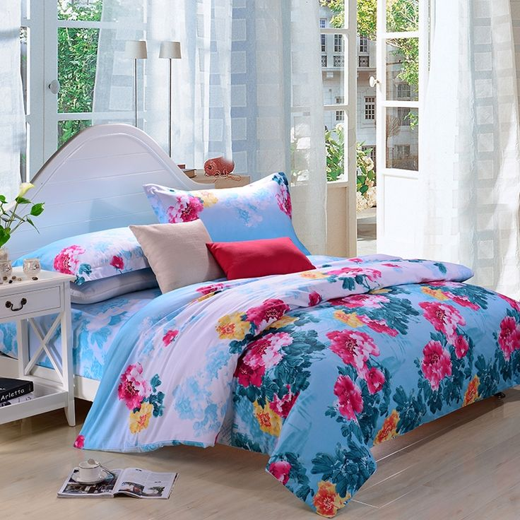 Sky Blue Red and Pale Pink Chinese Ink Painting Peony Blossom Full, Queen Size 100% Organic Cotton Bedding Sets