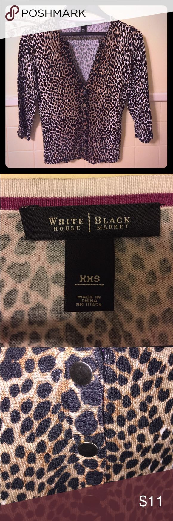 LikeNew White House Black Market Cheetah Cardigan This cardigan is in perfect condition and has only been worn one time. It's is super cute to wear formally or even casually as well. If it wasn't to small for me I would definitely be keeping it for myself! White House Black Market Sweaters Cardigans