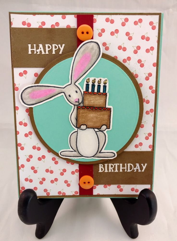 This is a fun birthday card I made for my cousin. I cut Flopsy out with my Brother Scan N Cut and colored him with Chameleon Alcohol P...