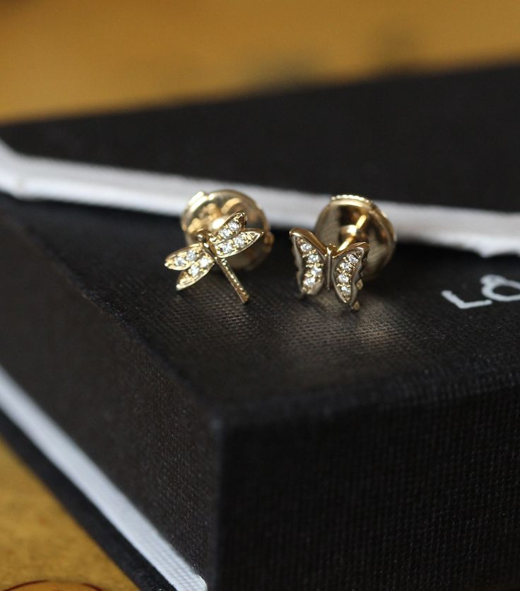 A touch of nature. Diamond butterfly and dragonfly stud. ‪#‎charms‬ ‪#‎studs‬ ‪#‎earrings‬ ‪#‎loquetlondon‬
