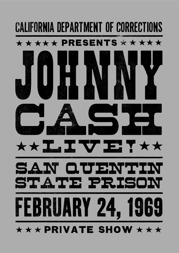 Johnny Cash concert poster Johnny Cash art print by TheIndoorType