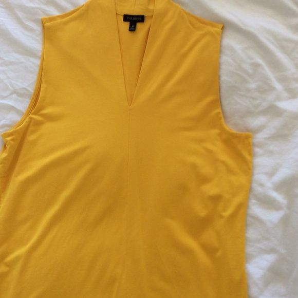 Talbots Yellow Sleeveless Blouse Mustard yellow knit sleeveless blouse. Medium size. Can be worn with jeans for a casual look. Pair with black trousers or black skirt for a more formal look. Talbots Tops Blouses