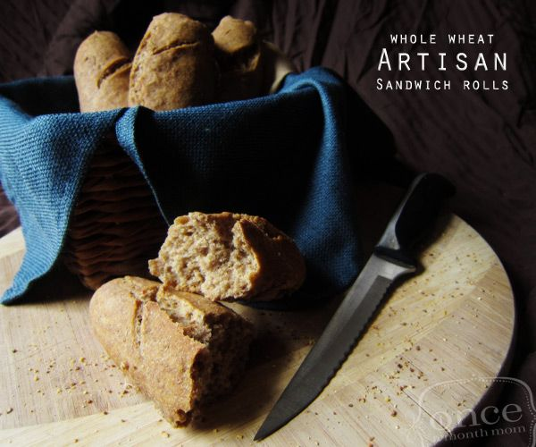 Whole Wheat Artisan Sandwich Rolls | OAMC from Once A Month Mom