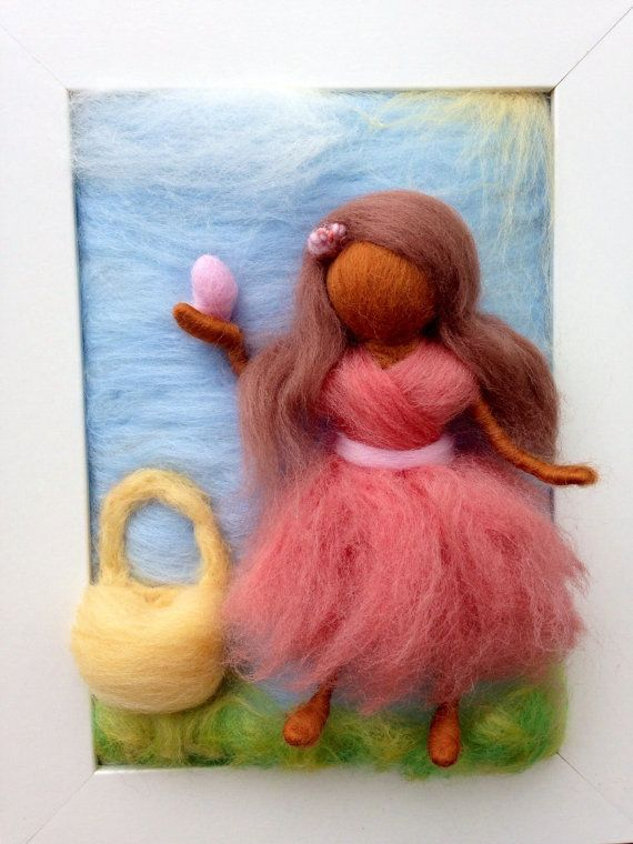 Would be great for a Nature Table! #Waldorf Easter  Egg Hunt Needle Felted Painting by kniteeney on Etsy, $45.00