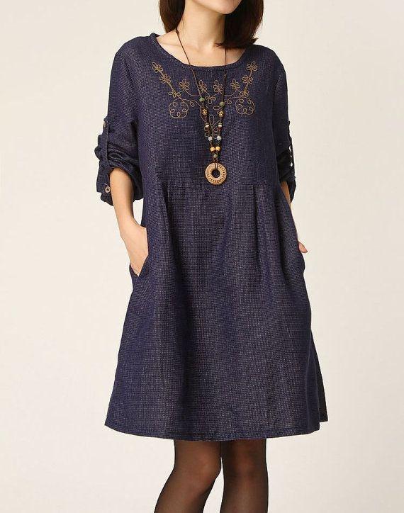 Darkblue cotton dress long sleeve dress maxi dress casual linen dress cotton shirt large size tops embroidered cotton blouse plus size dress