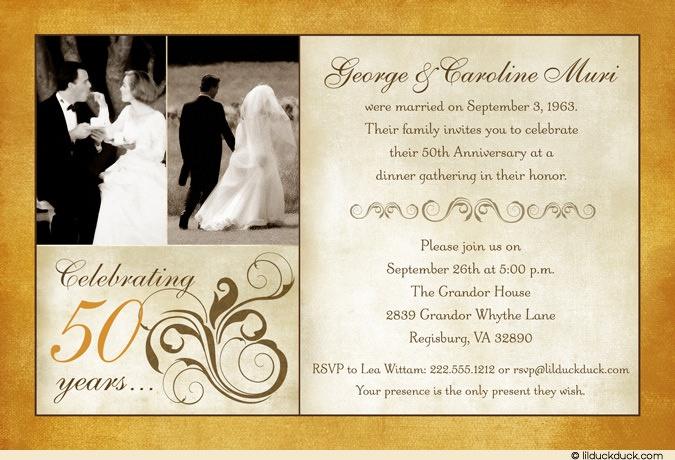 Golden Wedding Anniversary Invitations: Golden Anniversary Two Photo Invitation