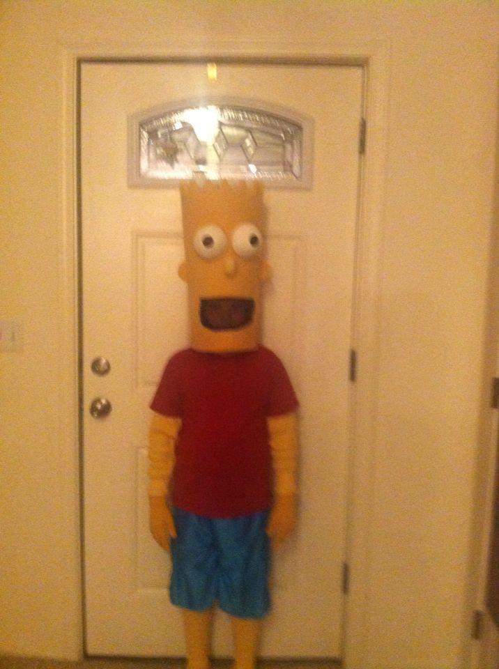 Homemade Bart Simpson costume. Tie dyed long johns, yellow gloves, egg crate foam padding, foam balls, scissors, and a hot glue gun!