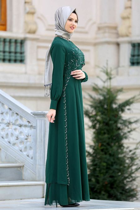 19bbbbfdf72d0 Evening Dresses - Green Hijab Dress 25625Y