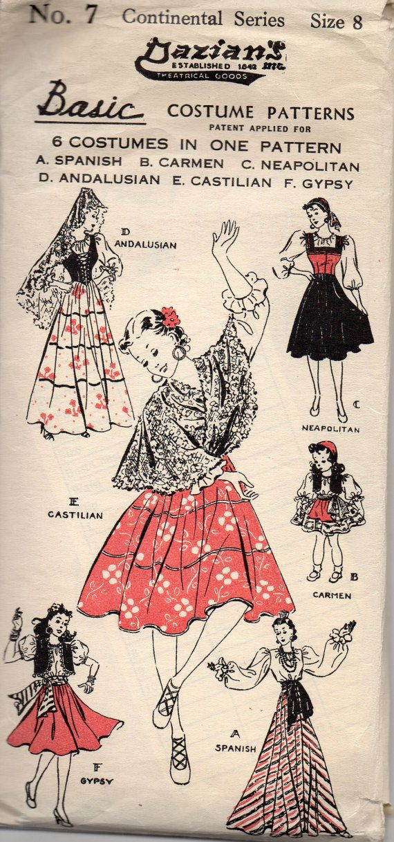Dazians 7 1940s Girls Costume Pattern Dance Spanish  Andalusian, Neapolitan, Castilian, Carmen, Gypsy, Spanish vintagesewing pattern  by mbchills