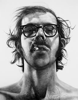 "Big Self-Portrait, 1967-68.  Acrylic on canvas. 107 1/2 x 83 1/2"" (273 x 212 cm). Walker Art Center, Minneapolis. Art Center Acquisition Fund, 1969. ©1998 Chuck Close            Self-Portrait. 1997.  Oil on canvas, 102 x 84"" (259 x 213.4 cm). Private collection, New York. Photo: Ellen Page Wilson; courtesy Pace Wildenstein Gallery. ©1998 Chuck Close           Focus: Chuck Close Editioned Works  This companion installation focuses on the artist's prints and other editioned works. It was…"