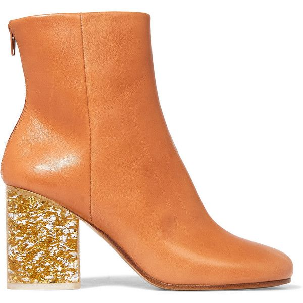 Maison Margiela Leather ankle boots (30 665 UAH) ❤ liked on Polyvore featuring shoes, boots, ankle booties, ankle boots, brown, footwear, brown leather ankle booties, brown leather booties, high heel bootie and leather booties