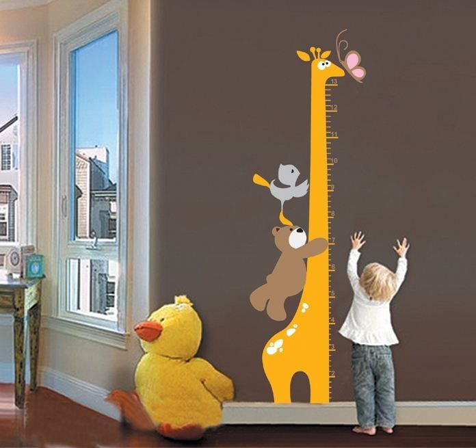 groeimeter met giraffe, beer, vogel en vlinder