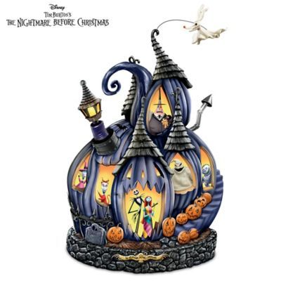 """Hand-cast, hand-painted masterpiece sculpture showcases characters from Tim Burton's film. With """"flying"""" Zero, lights and """"This Is Halloween"""" music."""