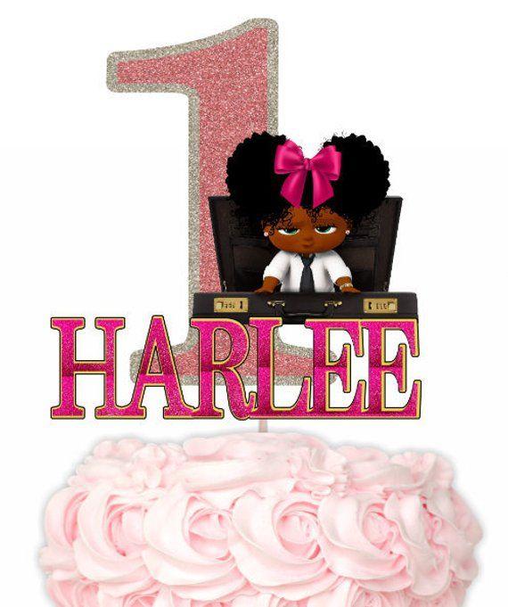 African American Boss Baby Girl Cake Topper Girl Boss Baby