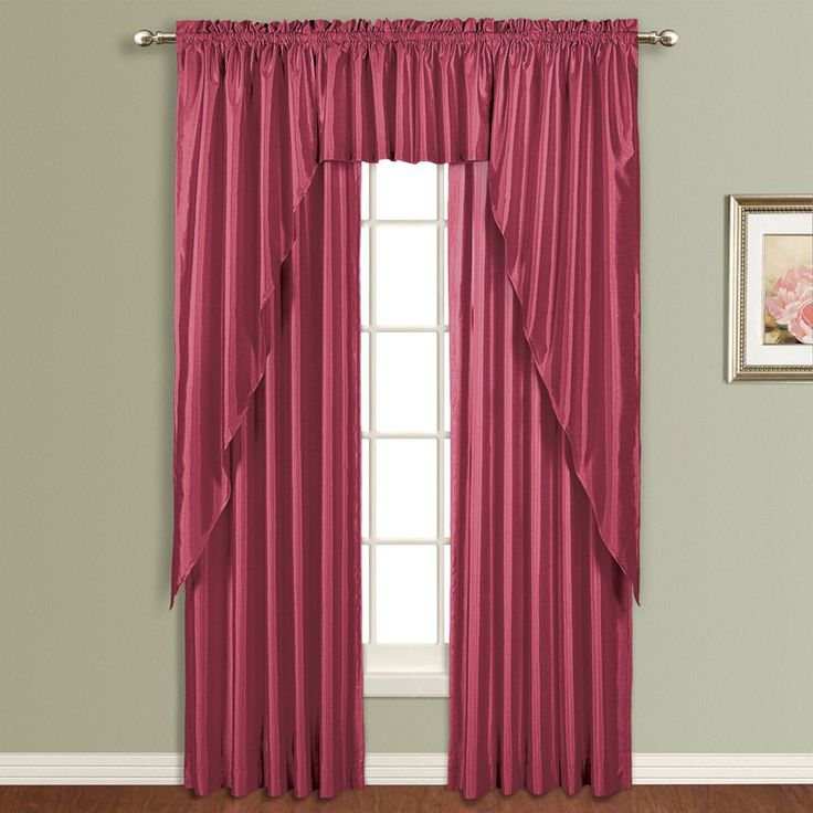 United Curtain Anna Lined Faux Silk Curtain Panel Burgundy - AN63BG