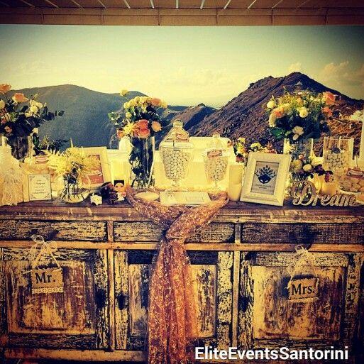 #sunset #wedding #reception by #eliteeventssantorini in amazing #rocabella #hotel #imerovigli #santorini #weddings #island #decoration #candy #table #wishbook #flowers  #santoriniwedding #decoration #fromAtoZ #rocabellahotel #solomoswedding2014 #George&Jana #couple #bride&groom #destinationwedding #greek #wedding #greece www.eliteeventssantorini.com