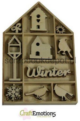 CraftEmotions Houten ornamenten - Vogel, vogelhuisje Home for Ch