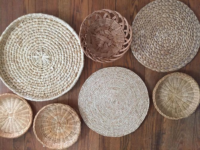 Set Of 7 Wall Hanging Baskets Wall Hanging Baskets Basket Wall Art Hanging Basket Woven Basket In 2020 Basket Wall Art Porch Wall Decor Baskets On Wall